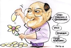 Será que Silvio Mendes será o próximo a desistir?  (Charge JOTA A - Jornal/Portal ODIA)